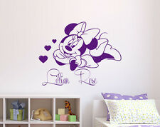 Personalized Name Wall Decal Minnie Mouse Decal Vinyl Stickers Nursery Decor KY1