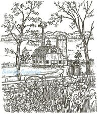 Country Farm Barn Windmill Scene Wood Mounted Rubber Stamp NORTHWOODS P8575 New