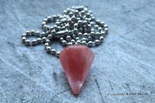 Natural Rose Quartz Hexagonal Pyramid Necklace Pendant Gemstone Crystal Chakra