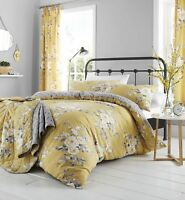 Catherine Lansfield Canterbury Ochre Yellow Floral  Duvet Cover Bedding Set