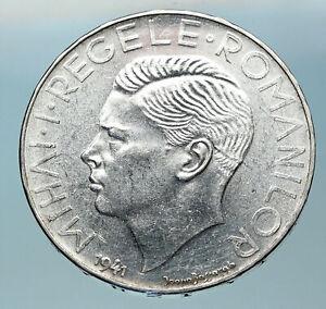 1941 ROMANIA Michael I Antique Genuine OLD Silver 500 LEI Romanian Coin i83774