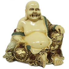 Happy Lucky Sitting Budha Statue Smiling Vintage Finish Figurine Gift Ornament