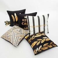 Gold Foil Printing Square Pillow Case Sofa Waist Throw Cushion Cover Home Decor
