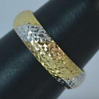 9 Carat Gold Textured Tri Colour Band 5.2mm f0210