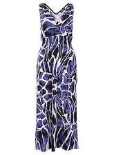 *SALE* Indulgence London MAXI DRESS Blue/Wh/Black Print S/M 10/12 Beautiful BNWT