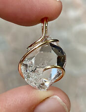22.46ct Natural Herkimer Diamond Pendant Set In Forged 14K Gold