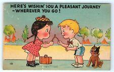 Vintage Postcard Comic Wishbone Pleasant Journey Boy Girl Dog