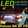 for Ford Falcon White T10 LED Number Plate Lights, fit BA BF FG FGX XR6 G6E FPV