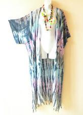 CD372 Tie Dye Hippie Batik Cardigan Duster Kaftan Kimono Hippy Jacket - 3X 4X 5X