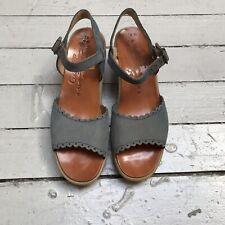 Vtg 70s Get Up Famolare Wavy Wedge Sandal Heel Blue Leather 7 1/2 M 9