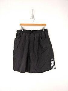 Vintage Adidas Swim Trunks Men 2XL XXL Black White Stripes Nylon Beach Wear