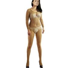 QUALITY Nude SLEEVE Bodysuit Silky Sheer Fishnet Catsuit Bodystocking Lingerie