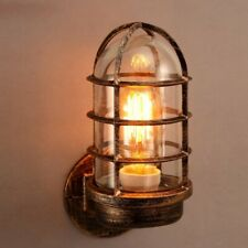 Industrial Rust Metal Cage Wall Light One Light Clear Glass Shade Light Fixture