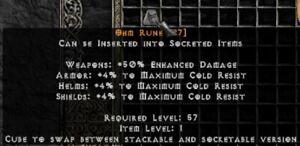 PD2 Project Diablo 2 Softcore SC - 2x OHM RUNE (2-Pack)