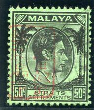Malaya Jap Occ 1942 KGVI 50c black/emerald very fine used. SG J157. Sc N16.