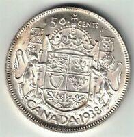 CANADA 1938 50 CENTS HALF DOLLAR GEORGE VI 800 SILVER CANADIAN COIN NICE GRADE