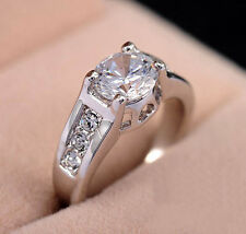 White Gold gp 2.0ct Round Cut lab Diamond Engagement Wedding Anniversary Ring