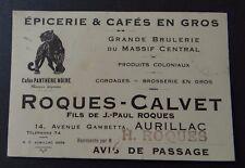 Carte de visite Café PANTHERE NOIRE panther AURILLAC ROQUES old visit card