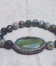 Handmade Bohem Green Healing Bracelet with Swarovski and Natural Stones