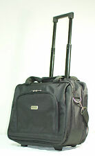 "Black 15.6"" Wheeled Rolling Laptop Bag Notebook Briefcase w/ Shoulder Strap"