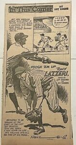 """1946 newspaper panel """"In This Corner"""" by Krenz featuring Tony Lazzeri, NY Yankee"""