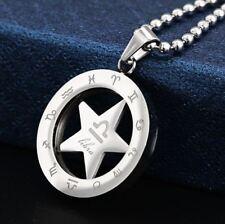 Sternzeichen Anhänger rund drehbar Edelstahl mit Kugelkette Waage