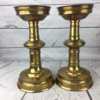 Solid Brass Candlesticks Vtg Pedestal Candle Holders Weddings Pillar Baluster