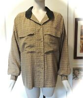 Ellen Tracy Brown & Tan Long Sleeve 100% Silk Blouse, Size 6 OVERSIZED!