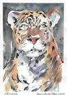 original painting 22 x 31,5 cm 467KO art modern watercolor animal leopard