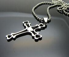 Cross Love Women/ Men's Silver 316L Stainless Steel Titanium Pendant Necklace