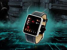 LED Uhr Designer Watch Herrenuhr schwarz Männer Armbanduhr Leder Datum Licht
