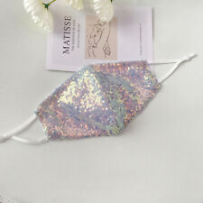 Mother of Pearl Sequin Face Mask Shopping, Party, Wedding: Reusable Sparkle
