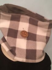 Face Mask White Grey Buffalo Plaid Fleece Gaiter Neck Warmer Reversible, New