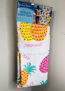 NEW White Pink Orange Yellow Pineapple Backpack Beach Pool Towel 28 x 58