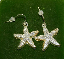 Nautical Sea Star Starfish Shell design Rhinestone Dangle Pierced Earrings 7b 75