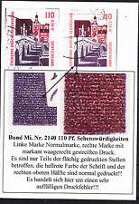 45) Bund MiNr. 2140 mit sehr seltene Variante gestreifter Druck schöne Abart!!!