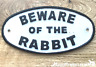 Heavy cast iron oval BEWARE OF THE RABBIT hutch gate fence sign bunny lover gift