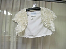 Alfred Angelo Bridal Bolero Prom Ivory Satin Roses Wide Sleeves Size 14