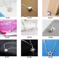 925 Silver Charm Cat Paw/Heart/Camera/Crystal Cross Pendants Necklaces Jewelry
