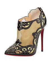 100% AUTH NEW WOMEN LOUBOUTIN MANDOLINA 120 PATENT SPECCHIO BOOTIES/BOOTS US 7