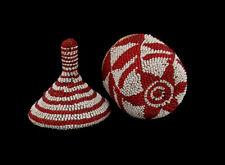 Fine Older Tutsi Beaded Basket Rwanda Red & White Geometric Lidded Basket