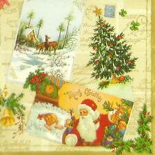 4x Tovaglioli di carta per Decoupage Decopatch Craft Vintage Natale
