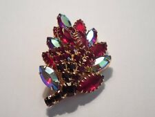 Stunning Vintage RED Aurora Borealis BROOCH Pin GOLDTONE Set Heavy And XL