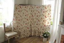 Antique French Belle Epoque floral fabric late 19th century daybed cover ruffle