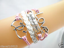 Fashion follow your heart Love Charms Braided Leather Bracelet (Pink+White)