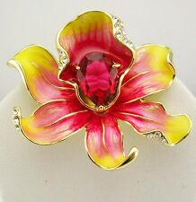 """Joan Rivers Enamel & Crystal Orchid  Brooch  1 3/4"""""""