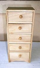 DOLL HOUSE FURNITURE~Miniatures~Unfinished~Wood~5 Drawer Chest~NEW~FREE SHIP