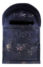 Antique Black Metal Mailbox, Post Box Decorative Wall Mounted Tabletop Letter