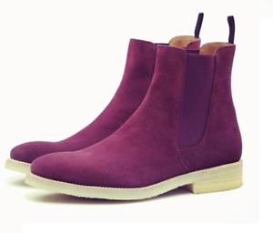 Mens Handmade Pink Purple Color Ankle High Suede Chelsea Style Boot Chelsea boot
