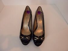 Bandolino black patent heels with open toe, size 8 1/2